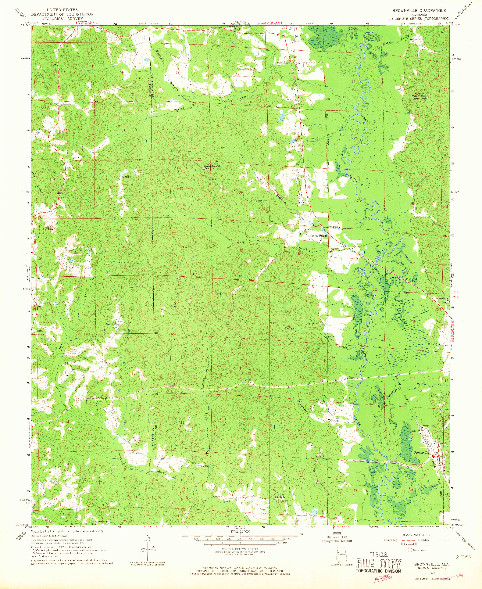 USGS 1:24000-SCALE QUADRANGLE FOR BROWNVILLE, AL 1967