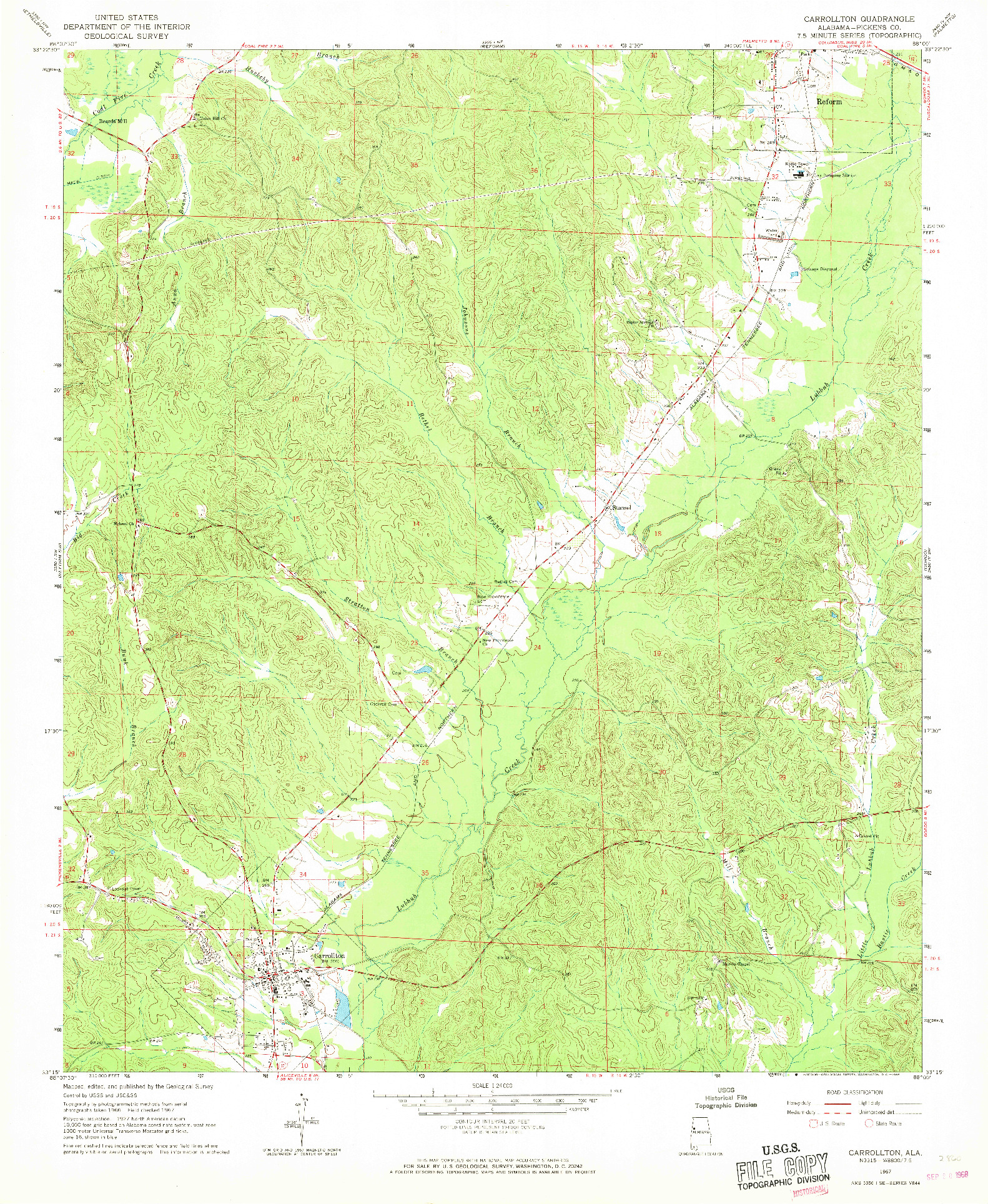 USGS 1:24000-SCALE QUADRANGLE FOR CARROLLTON, AL 1967