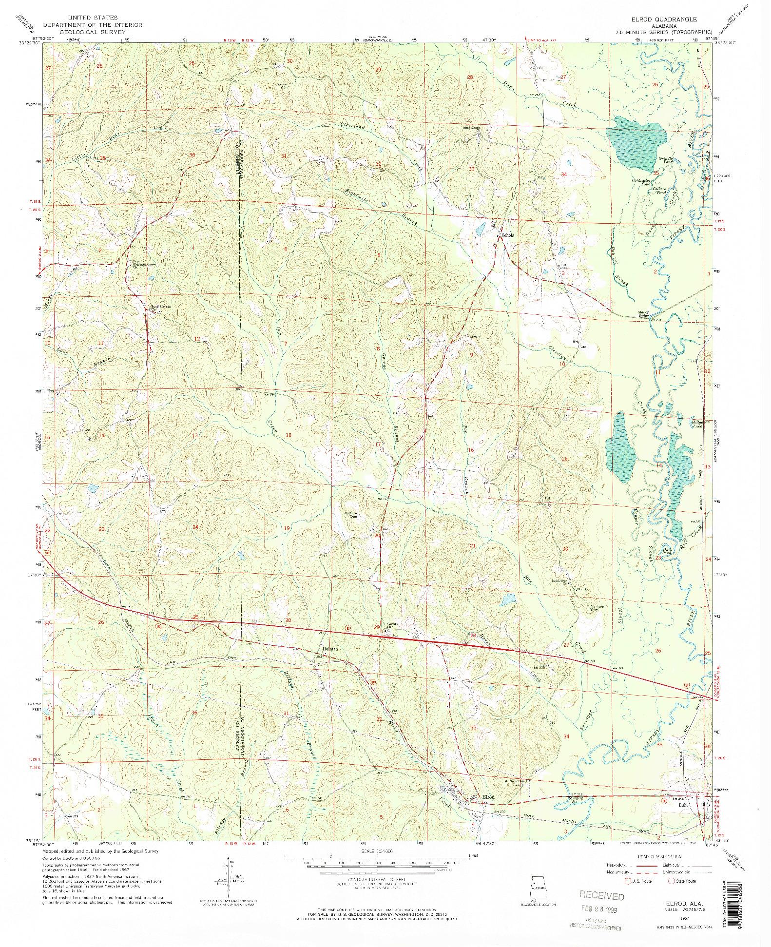 USGS 1:24000-SCALE QUADRANGLE FOR ELROD, AL 1967