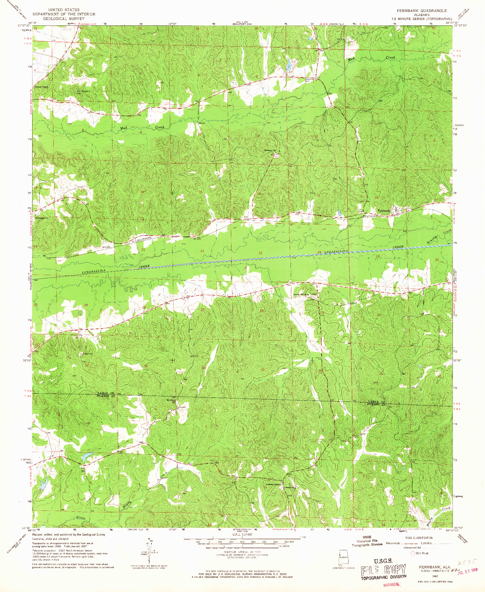 USGS 1:24000-SCALE QUADRANGLE FOR FERNBANK, AL 1967