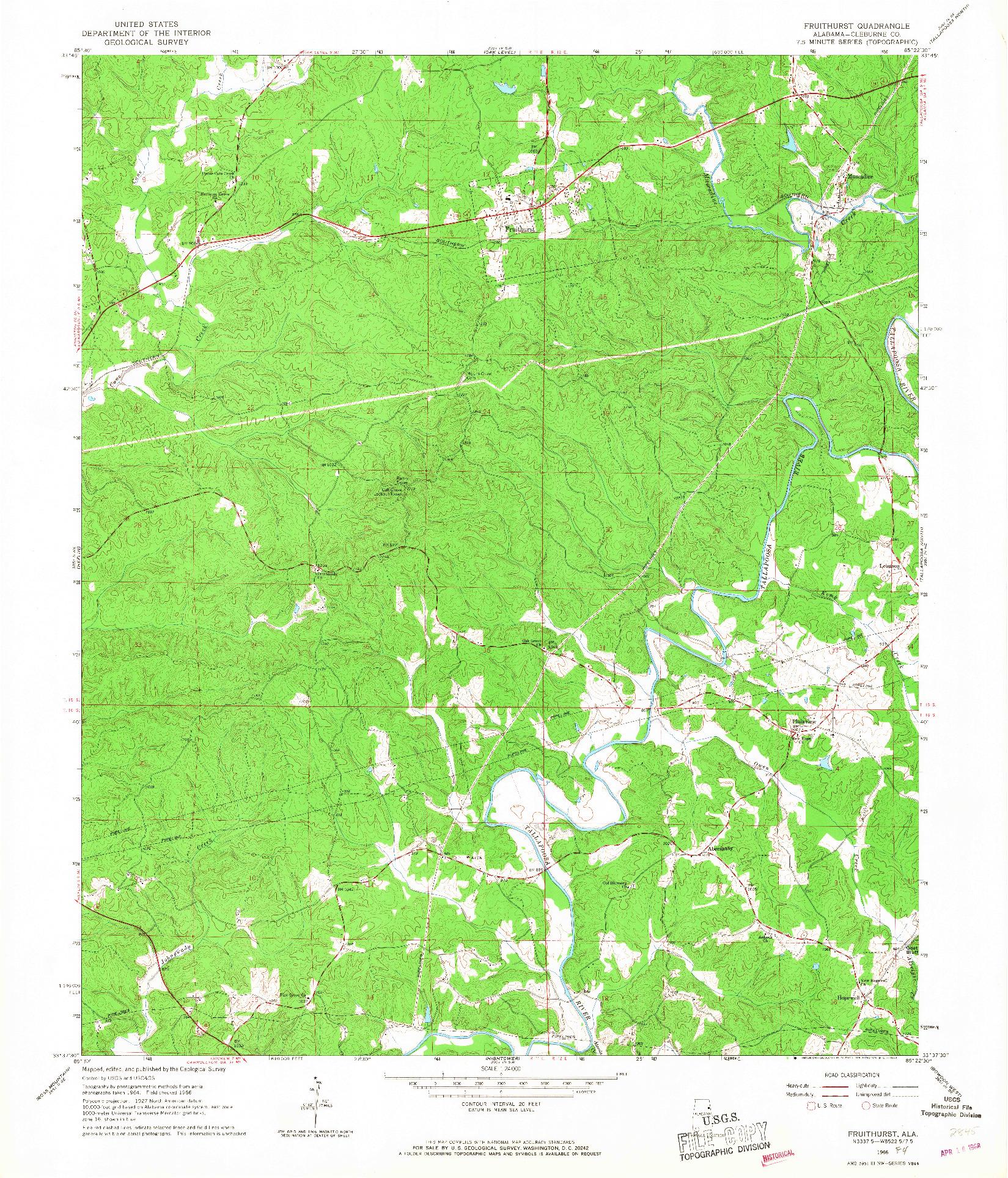 USGS 1:24000-SCALE QUADRANGLE FOR FRUITHURST, AL 1966