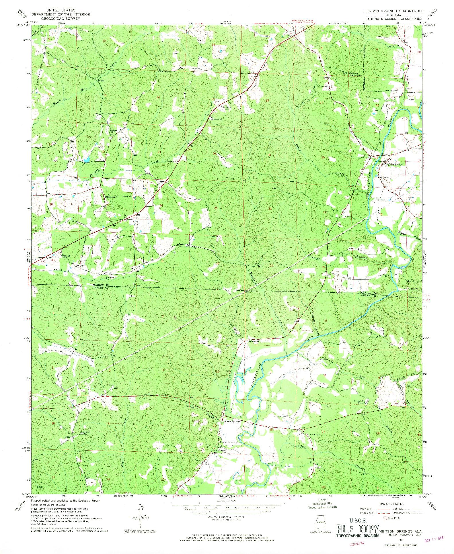 USGS 1:24000-SCALE QUADRANGLE FOR HENSON SPRINGS, AL 1967