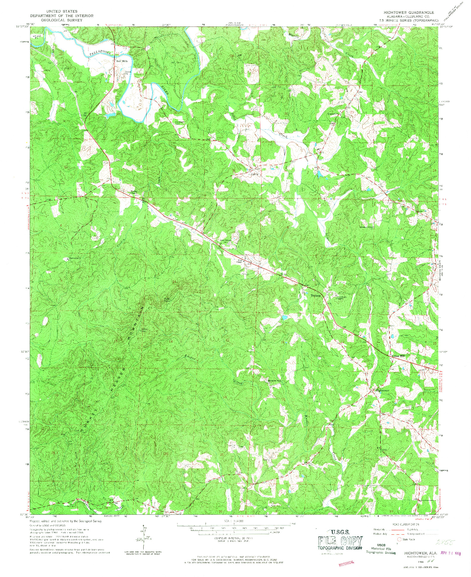 USGS 1:24000-SCALE QUADRANGLE FOR HIGHTOWER, AL 1966