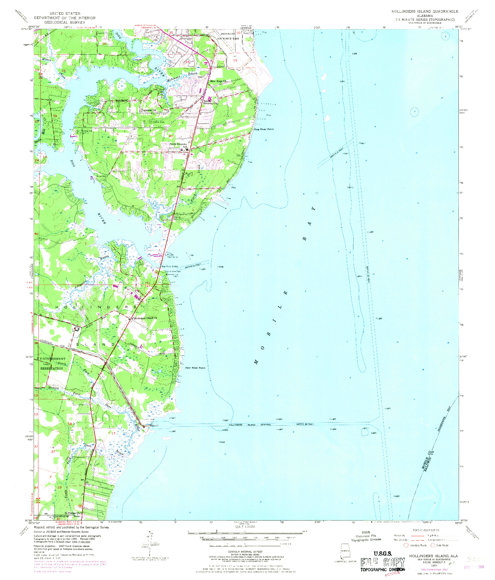 USGS 1:24000-SCALE QUADRANGLE FOR HOLLINGERS ISLAND, AL 1953