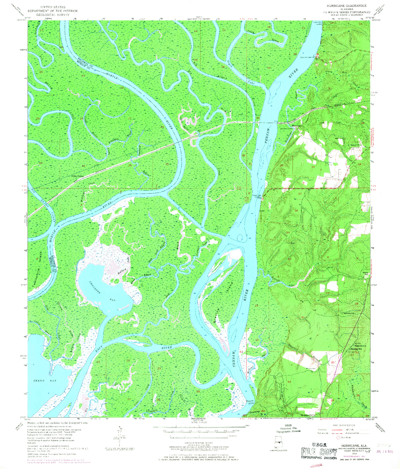USGS 1:24000-SCALE QUADRANGLE FOR HURRICANE, AL 1953