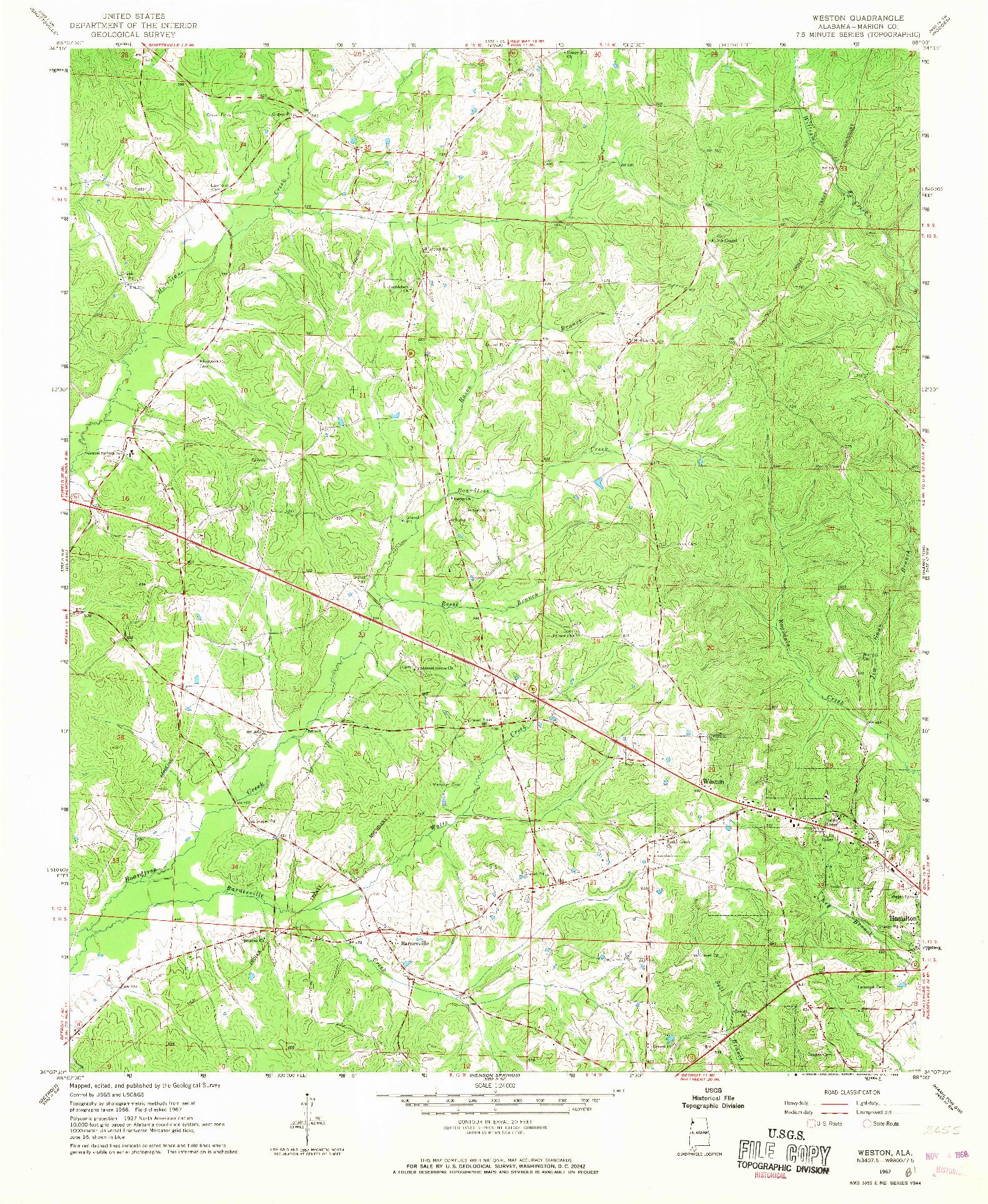 USGS 1:24000-SCALE QUADRANGLE FOR WESTON, AL 1967