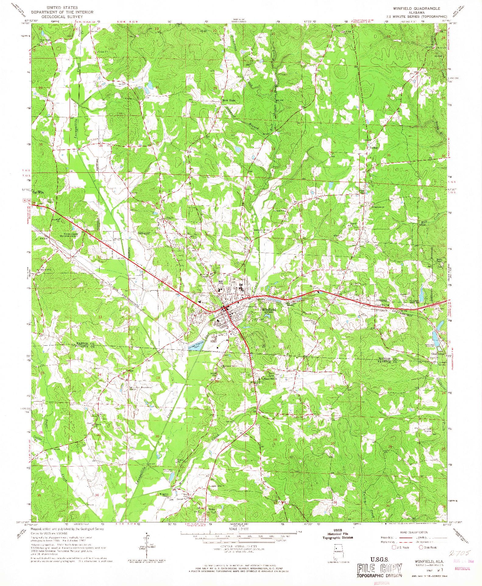 USGS 1:24000-SCALE QUADRANGLE FOR WINFIELD, AL 1967