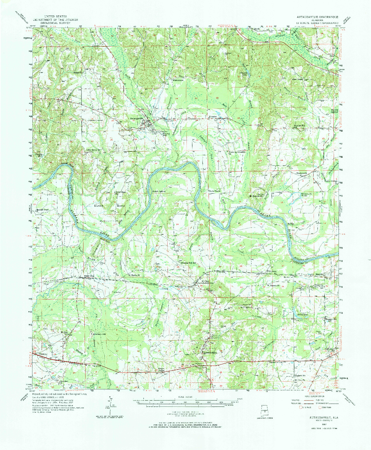 USGS 1:62500-SCALE QUADRANGLE FOR AUTAUGAVILLE, AL 1957