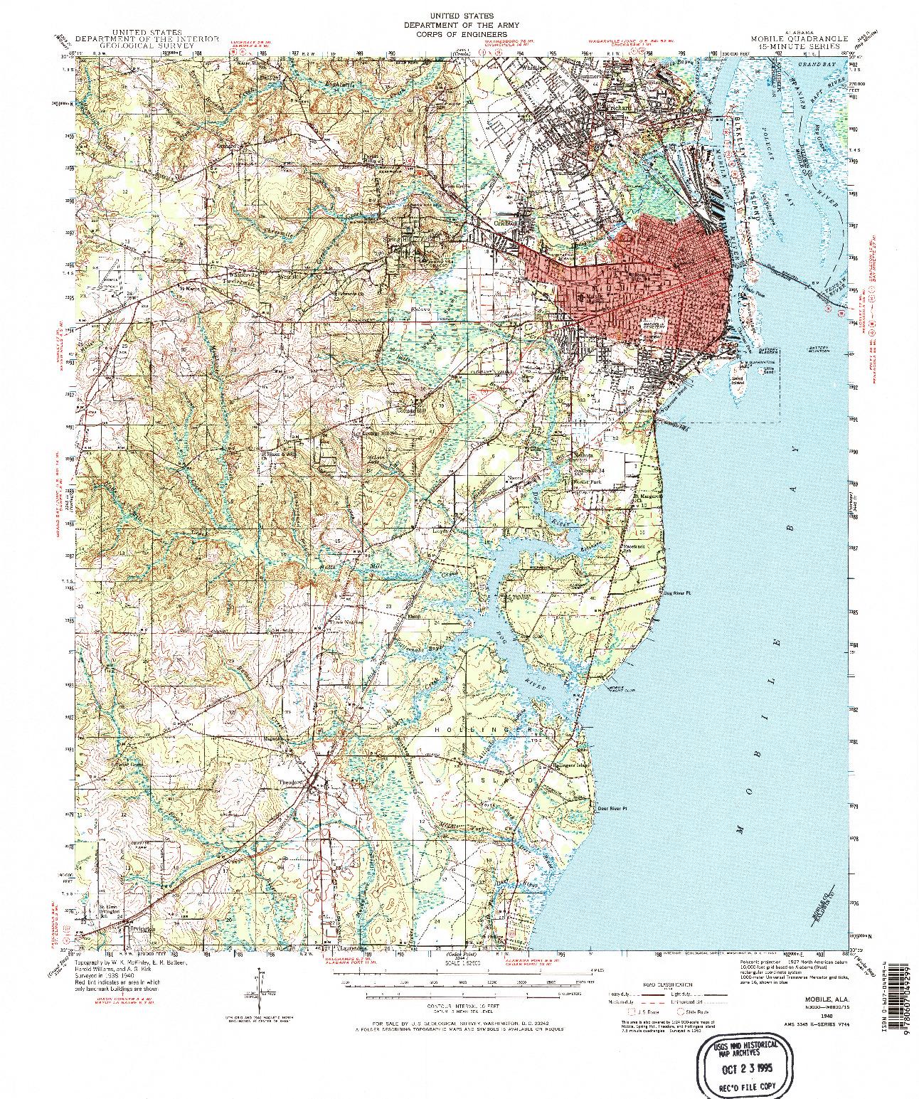 USGS 1:62500-SCALE QUADRANGLE FOR MOBILE, AL 1940