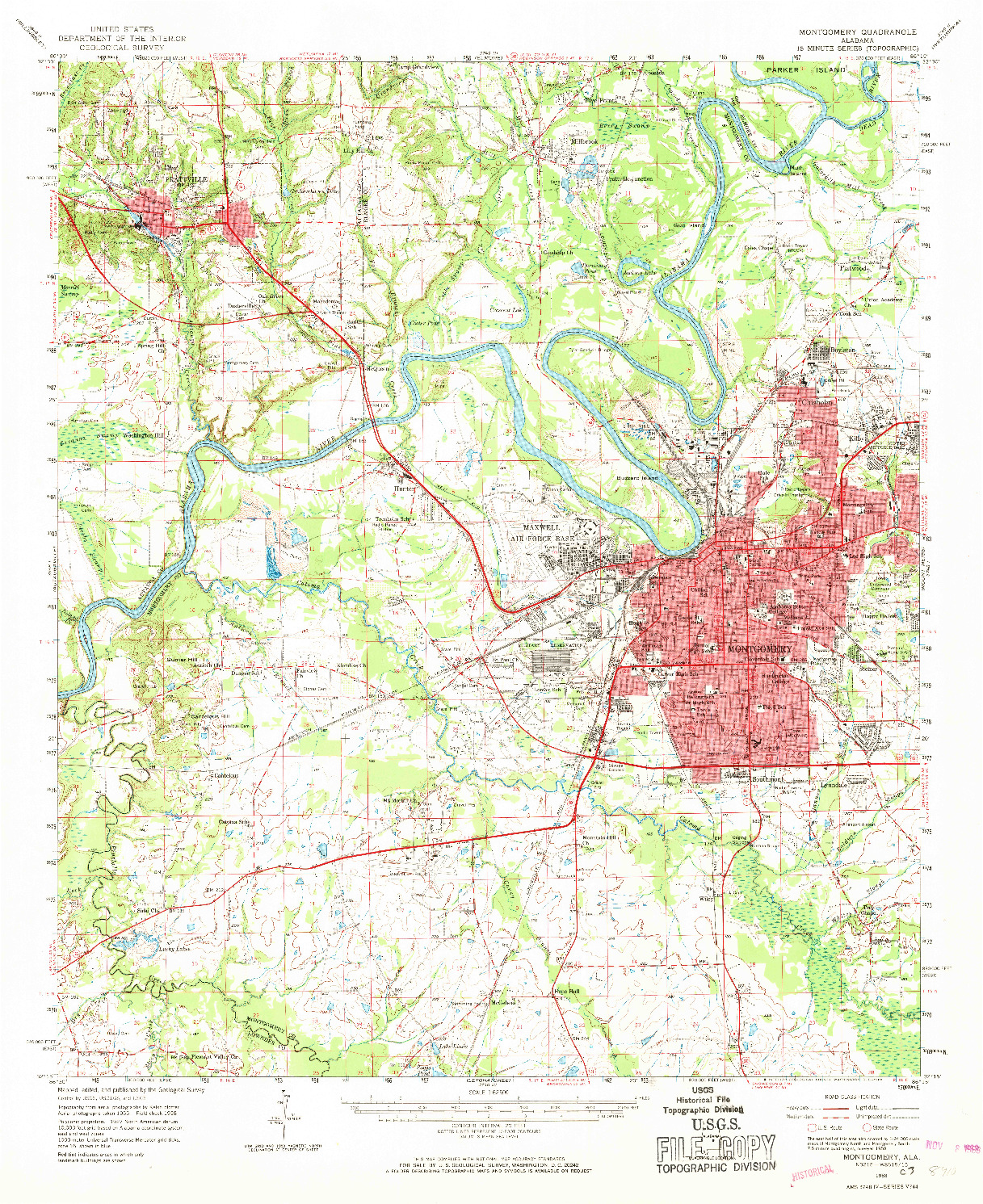 USGS 1:62500-SCALE QUADRANGLE FOR MONTGOMERY, AL 1958