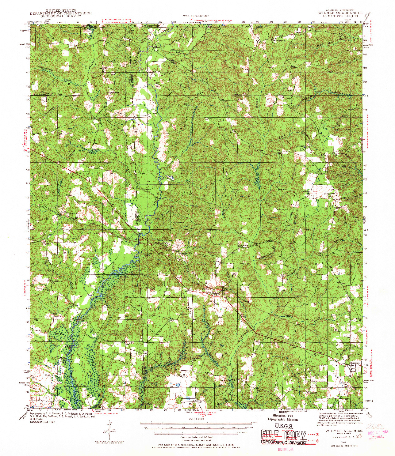 USGS 1:62500-SCALE QUADRANGLE FOR WILMER, AL 1942