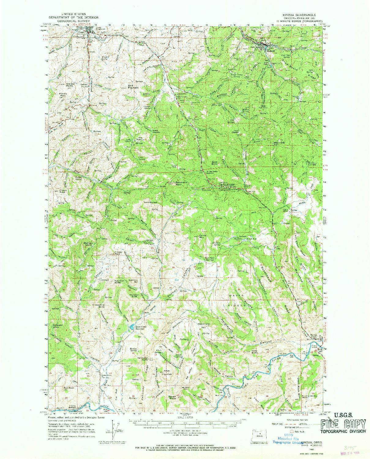 USGS 1:62500-SCALE QUADRANGLE FOR KINZUA, OR 1966