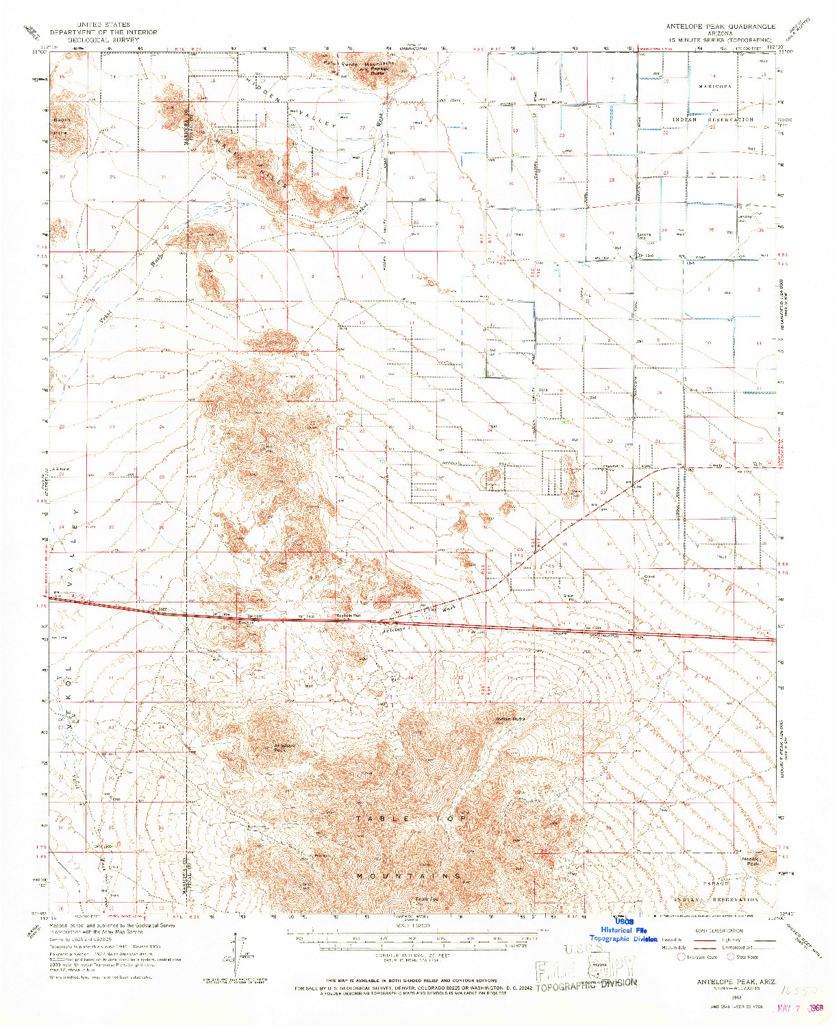 USGS 1:62500-SCALE QUADRANGLE FOR ANTELOPE PEAK, AZ 1963