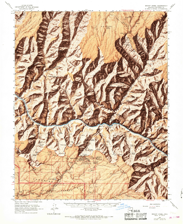 USGS 1:62500-SCALE QUADRANGLE FOR BRIGHT ANGEL, AZ 1962