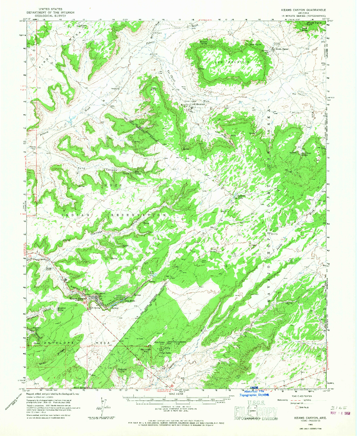 USGS 1:62500-SCALE QUADRANGLE FOR KEAMS CANYON, AZ 1966