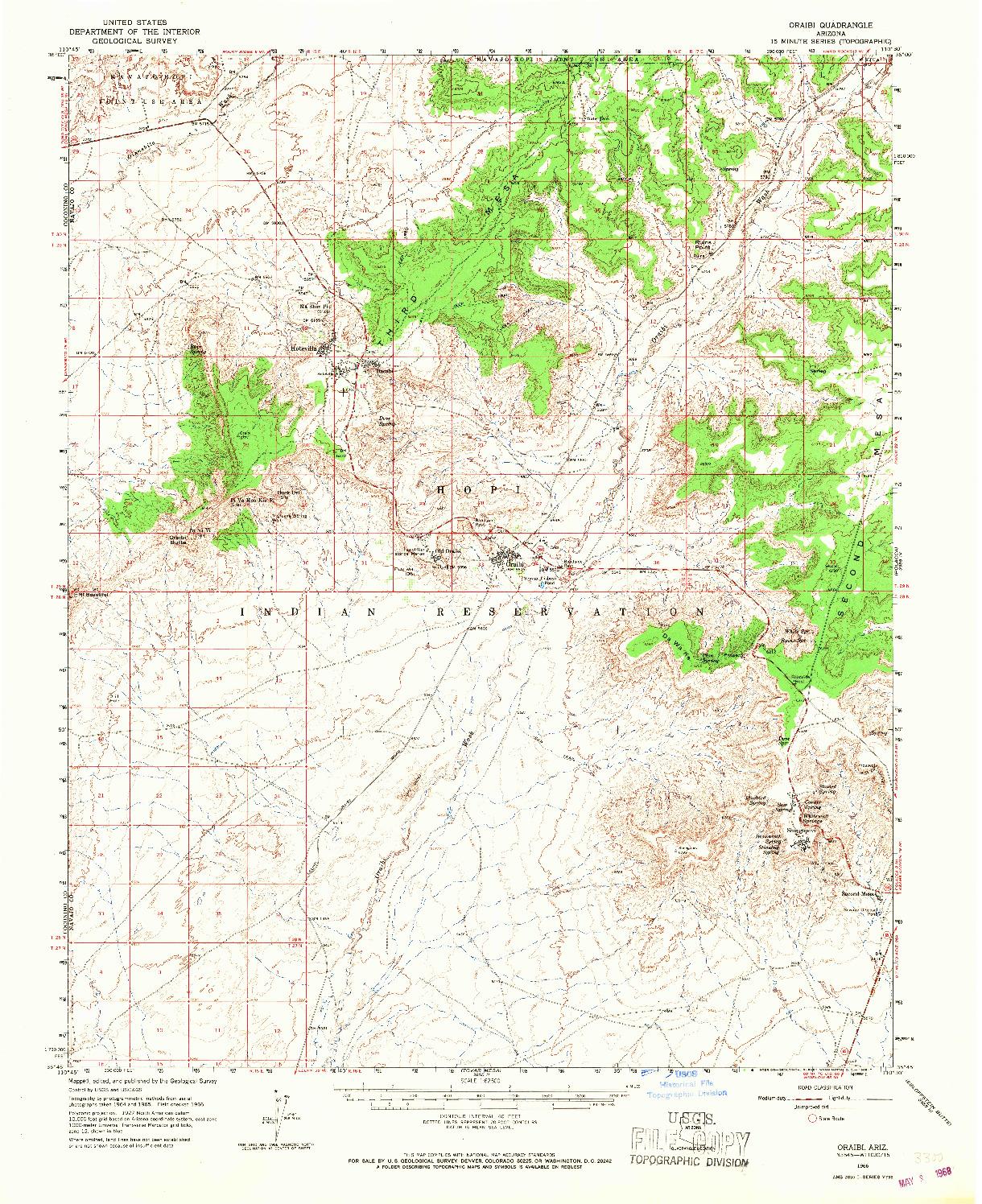 USGS 1:62500-SCALE QUADRANGLE FOR ORAIBI, AZ 1966