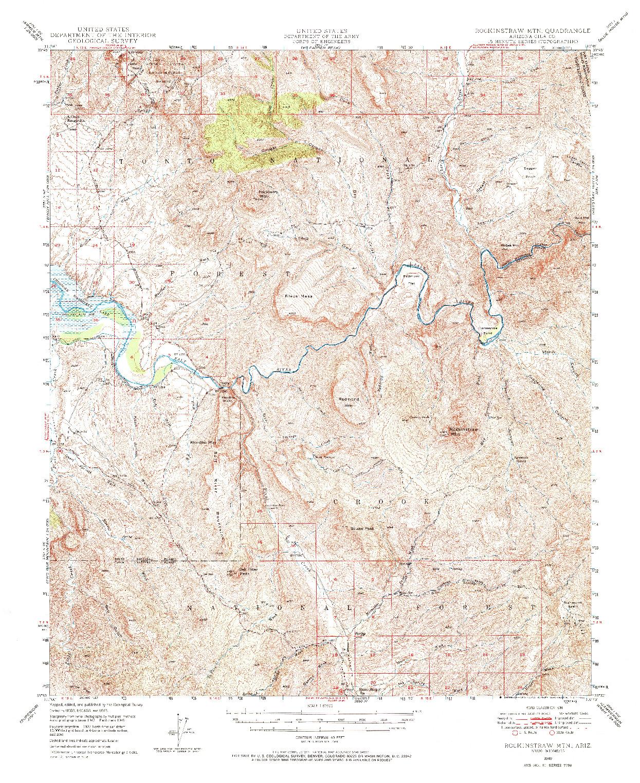 USGS 1:62500-SCALE QUADRANGLE FOR ROCKINSTRAW MTN, AZ 1949