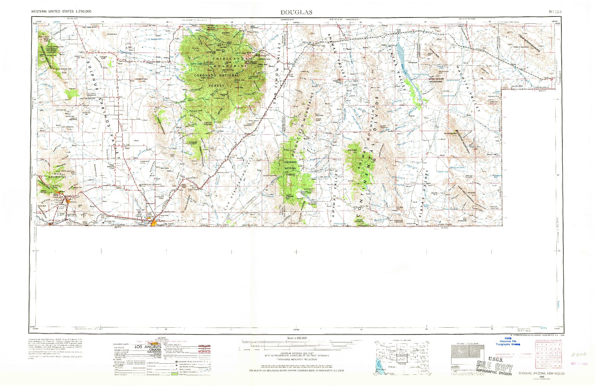 USGS 1:250000-SCALE QUADRANGLE FOR DOUGLAS, AZ 1959