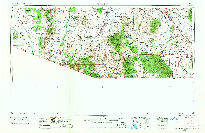 USGS 1:250000-SCALE QUADRANGLE FOR NOGALES, AZ 1956