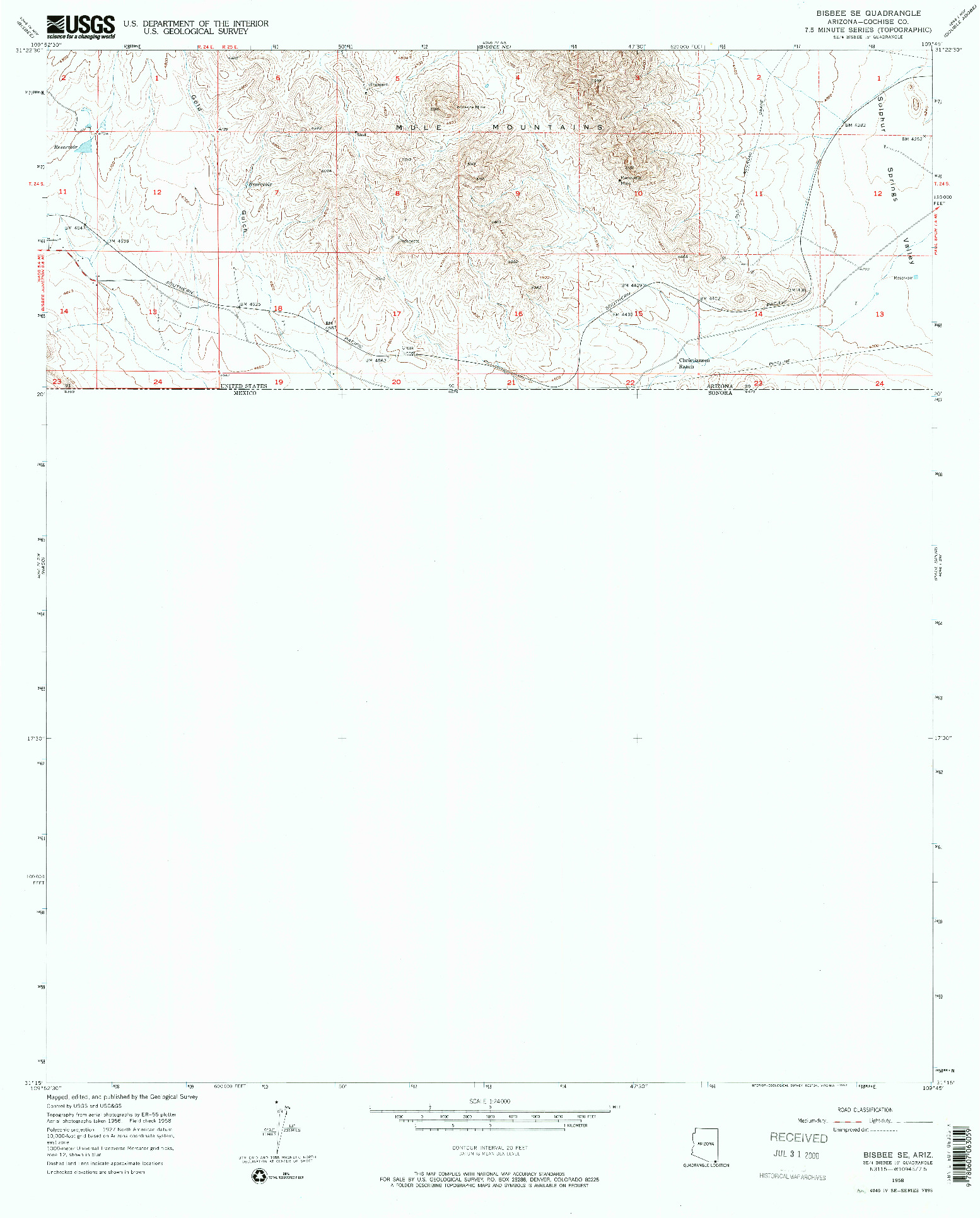 USGS 1:24000-SCALE QUADRANGLE FOR BISBEE SE, AZ 1958
