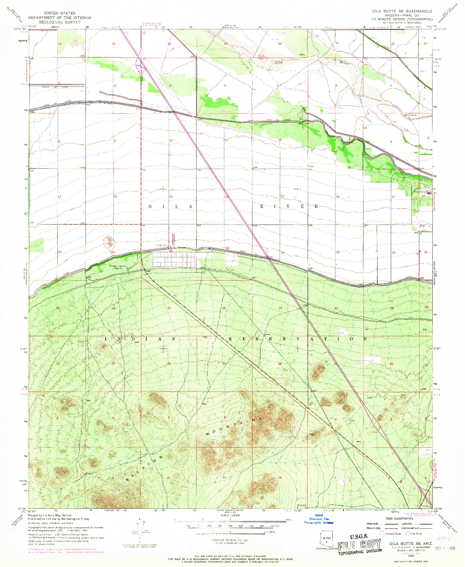 USGS 1:24000-SCALE QUADRANGLE FOR GILA BUTTE SE, AZ 1952
