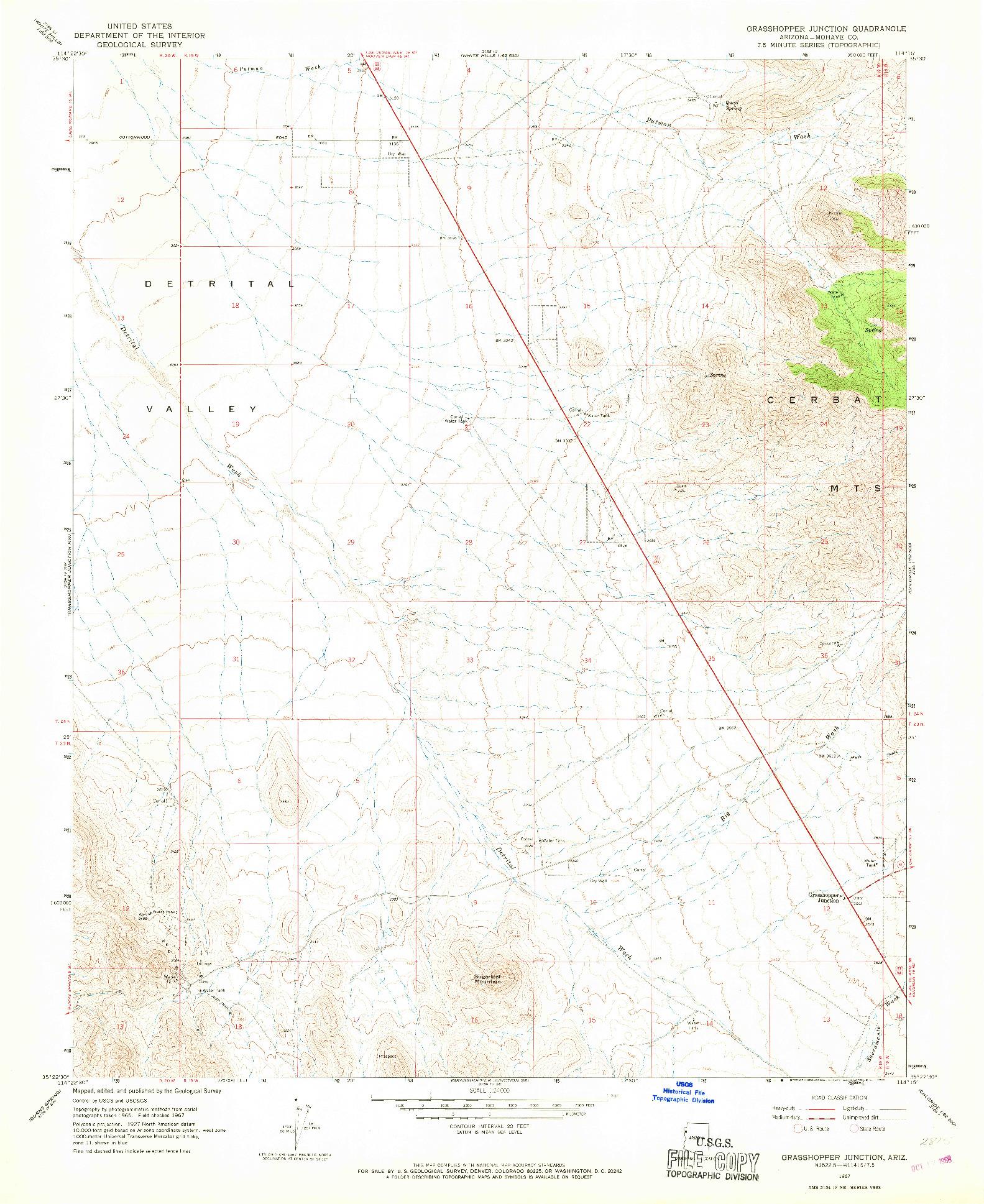 USGS 1:24000-SCALE QUADRANGLE FOR GRASSHOPPER JUNCTION, AZ 1967