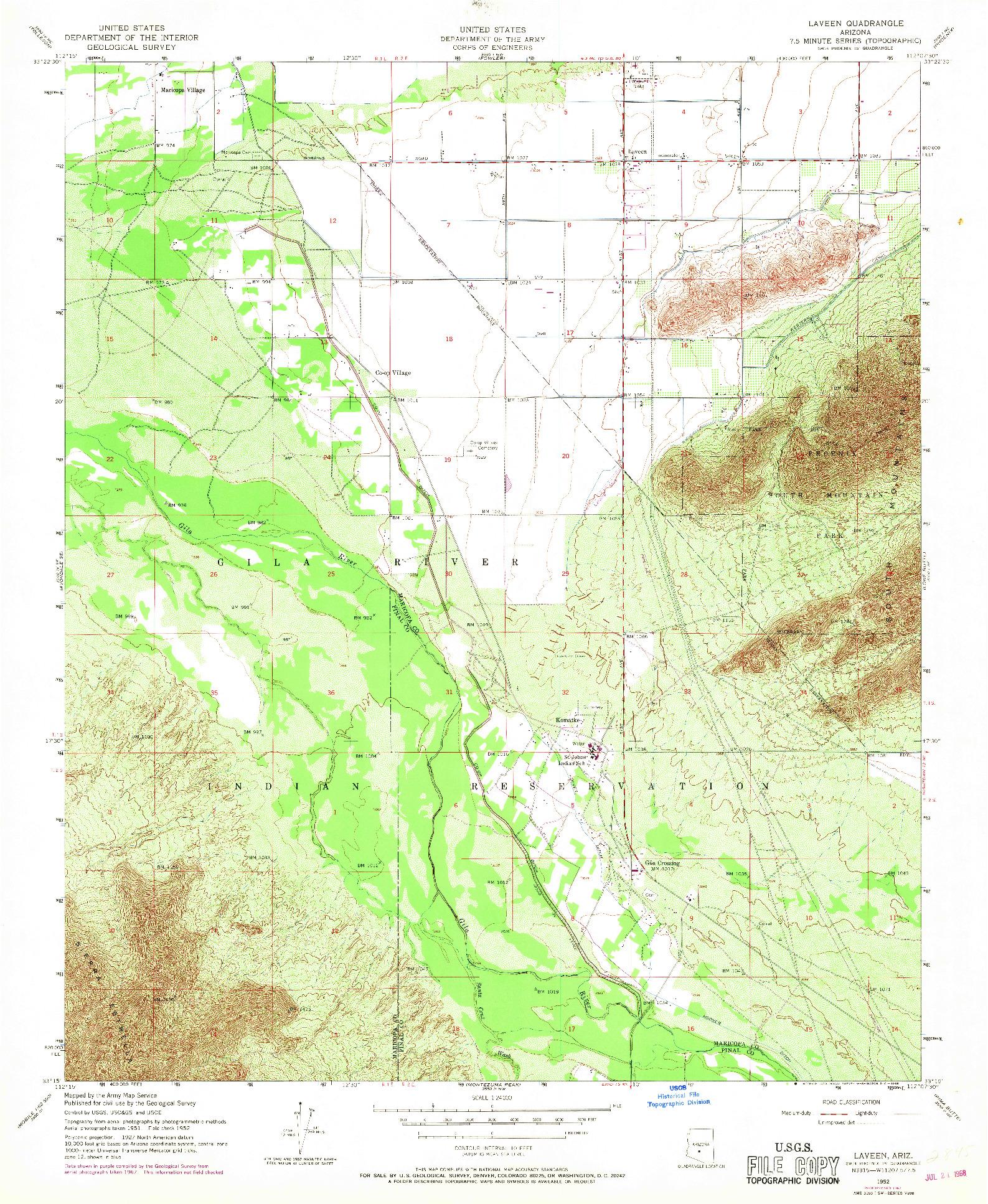 USGS 1:24000-SCALE QUADRANGLE FOR LAVEEN, AZ 1952