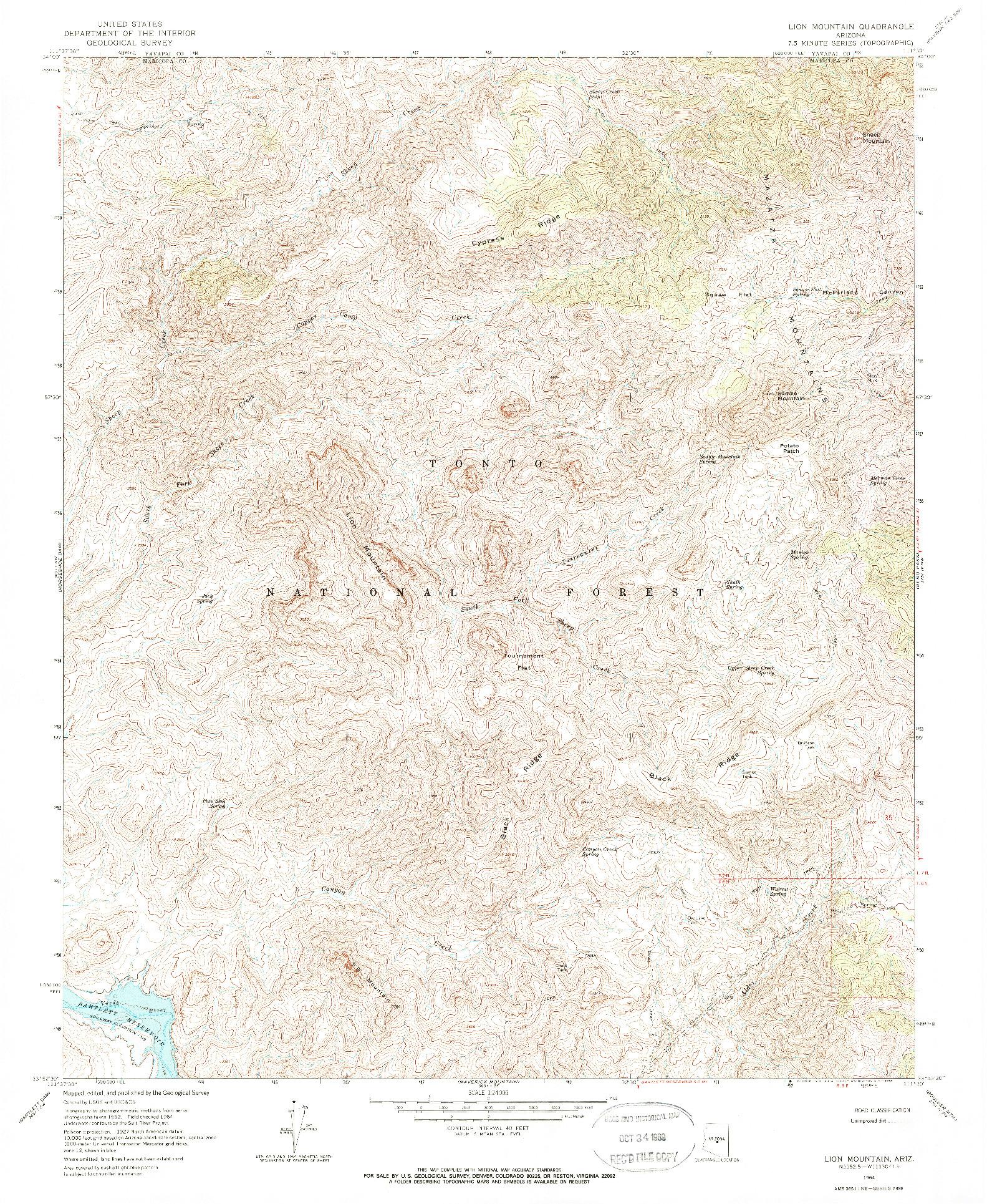 USGS 1:24000-SCALE QUADRANGLE FOR LION MOUNTAIN, AZ 1964