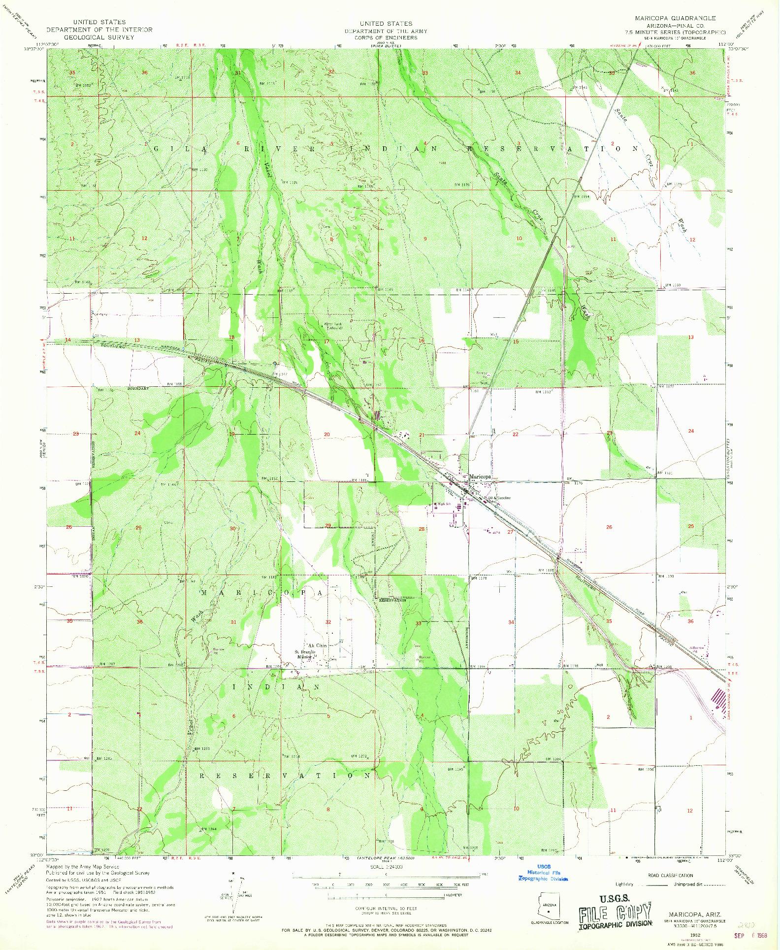 USGS 1:24000-SCALE QUADRANGLE FOR MARICOPA, AZ 1952