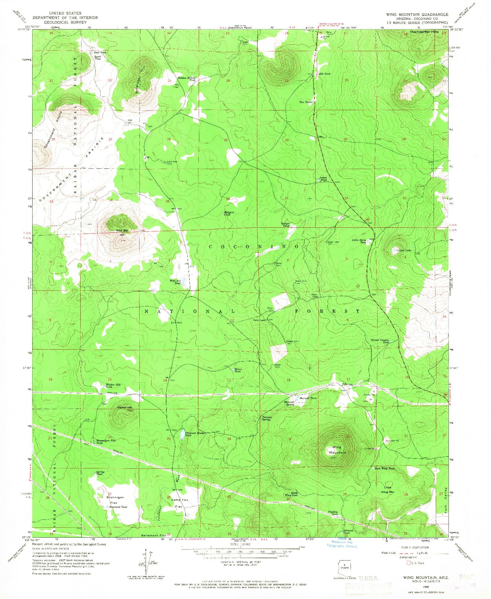USGS 1:24000-SCALE QUADRANGLE FOR WING MOUNTAIN, AZ 1966