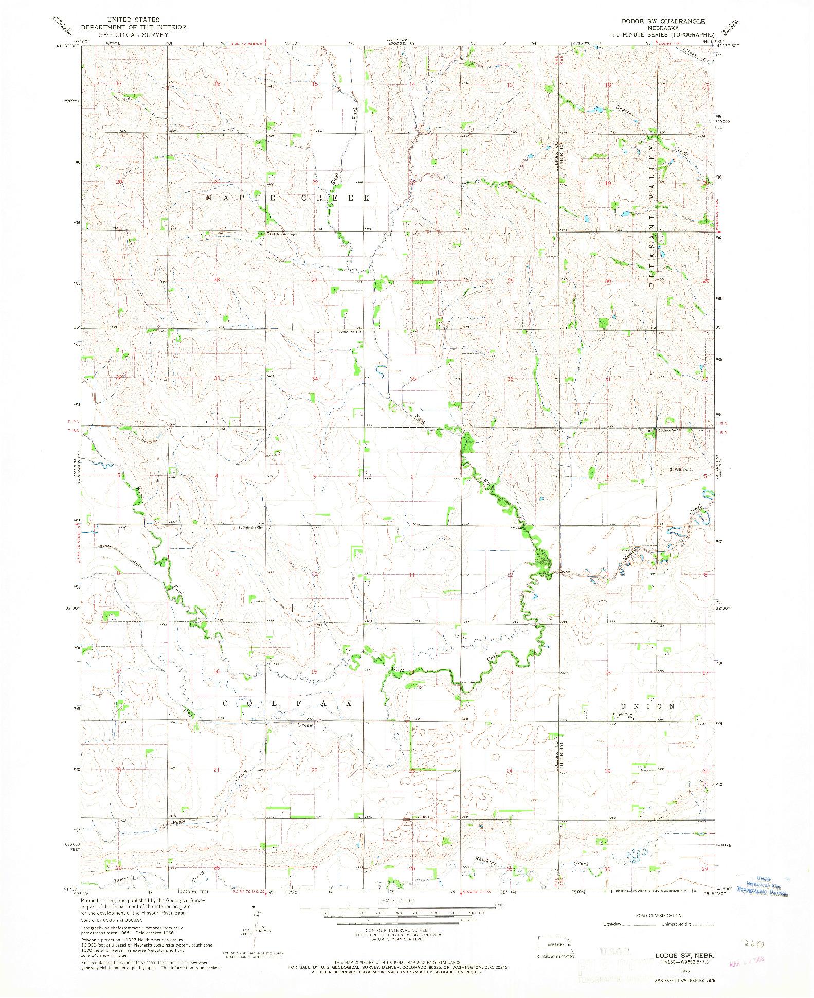 USGS 1:24000-SCALE QUADRANGLE FOR DODGE SW, NE 1966