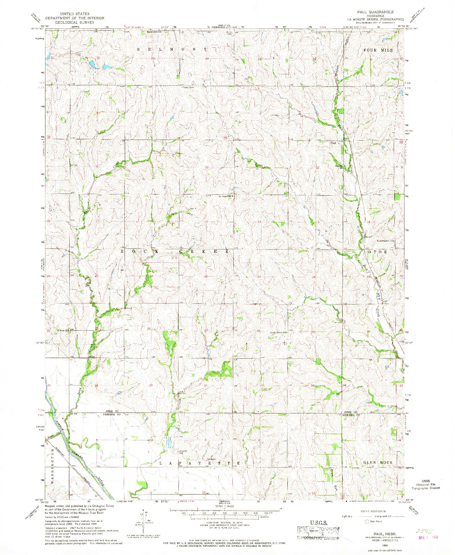 USGS 1:24000-SCALE QUADRANGLE FOR PAUL, NE 1966