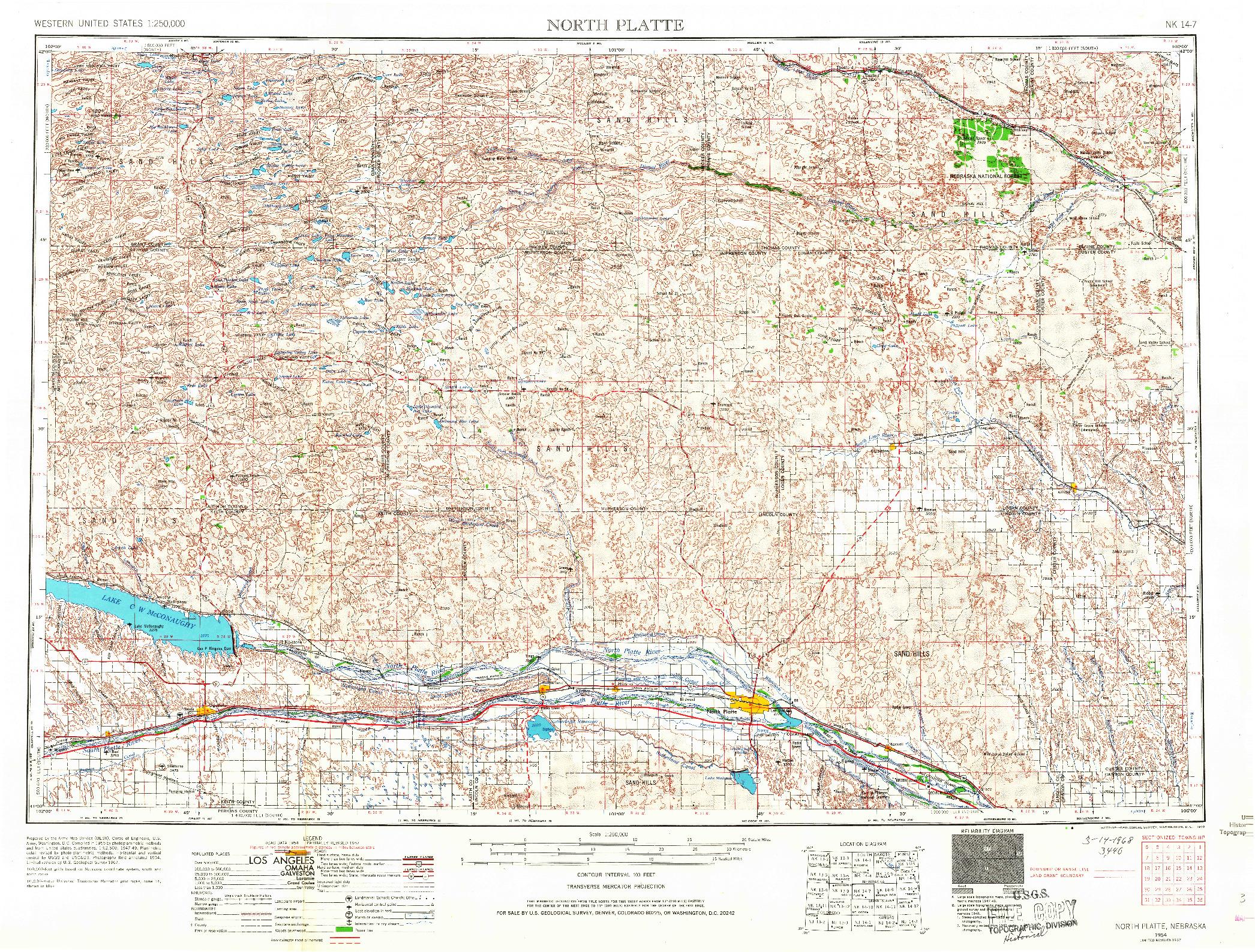 USGS 1:250000-SCALE QUADRANGLE FOR NORTH PLATTE, NE 1954