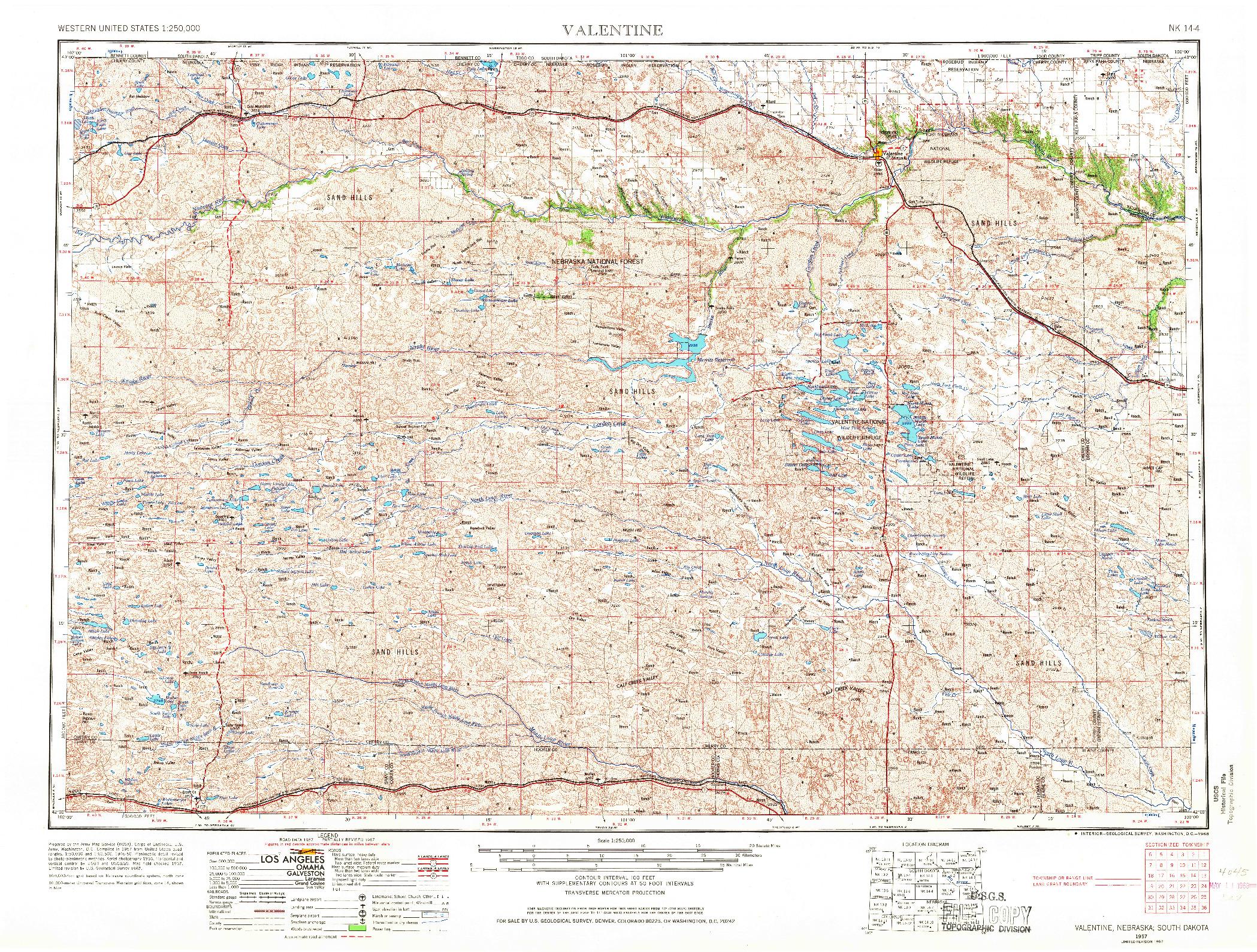 USGS 1:250000-SCALE QUADRANGLE FOR VALENTINE, NE 1957