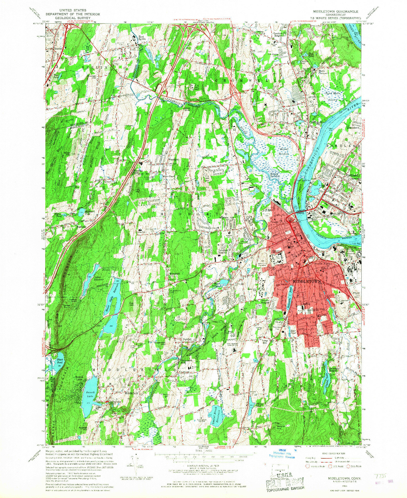 USGS 1:24000-SCALE QUADRANGLE FOR MIDDLETOWN, CT 1965