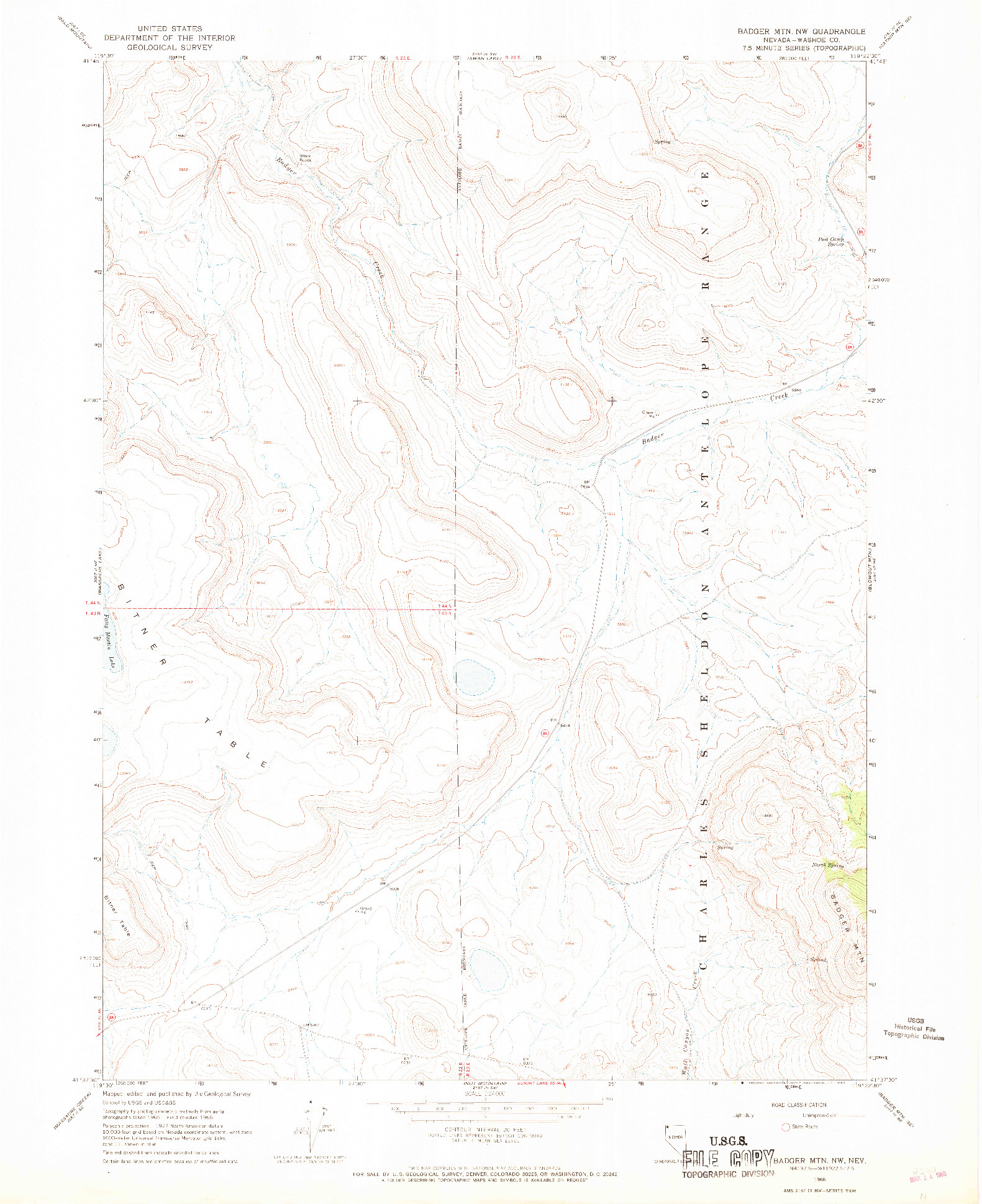 USGS 1:24000-SCALE QUADRANGLE FOR BADGER MTN NW, NV 1966