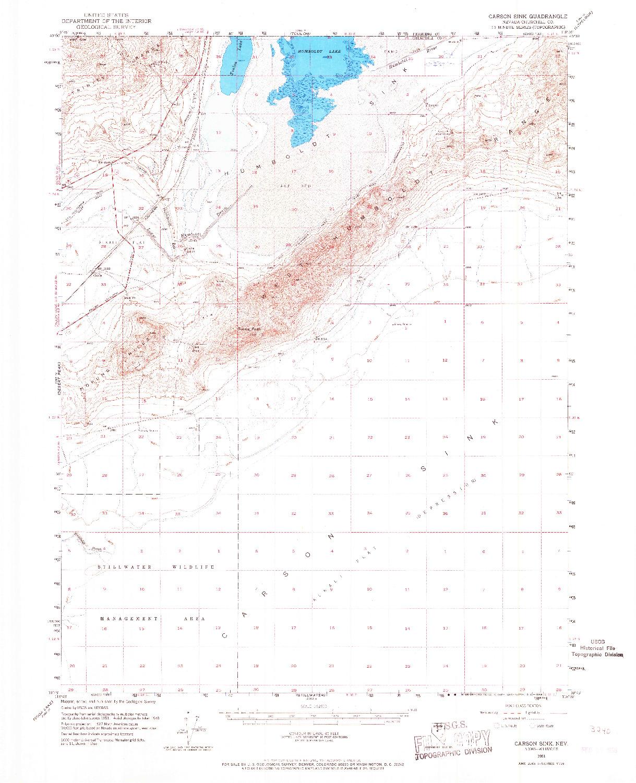 USGS 1:62500-SCALE QUADRANGLE FOR CARSON SINK, NV 1951