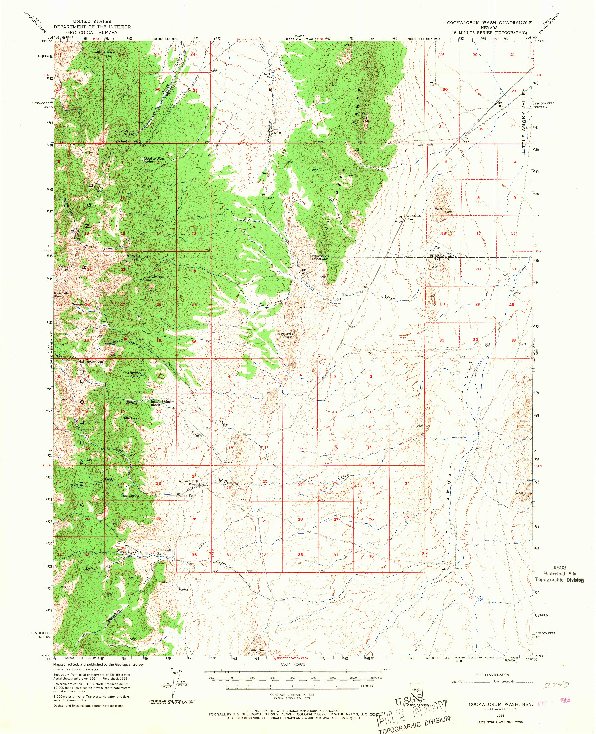 USGS 1:62500-SCALE QUADRANGLE FOR COCKALORUM WASH, NV 1956