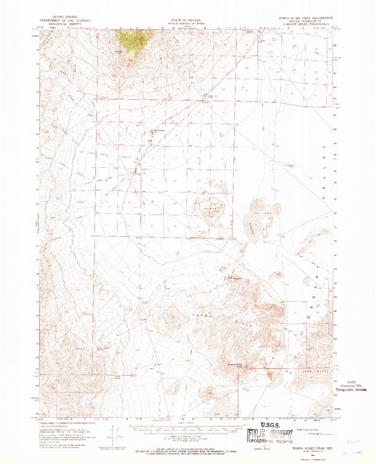 USGS 1:62500-SCALE QUADRANGLE FOR DONNA SCHEE PEAK, NV 1966
