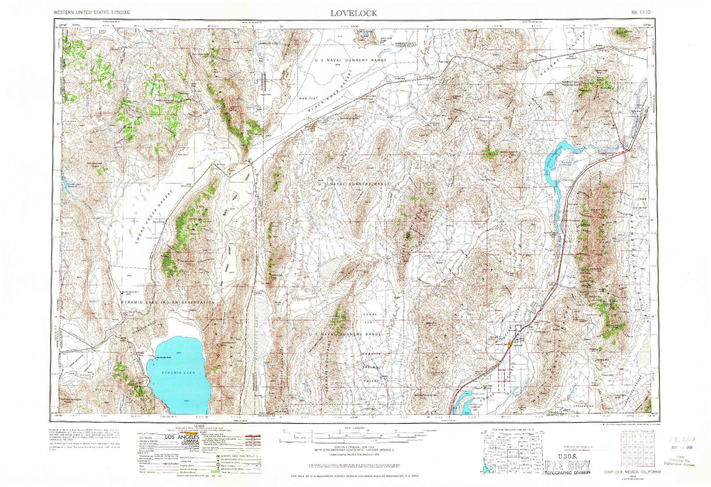 USGS 1:250000-SCALE QUADRANGLE FOR LOVELOCK, NV 1955