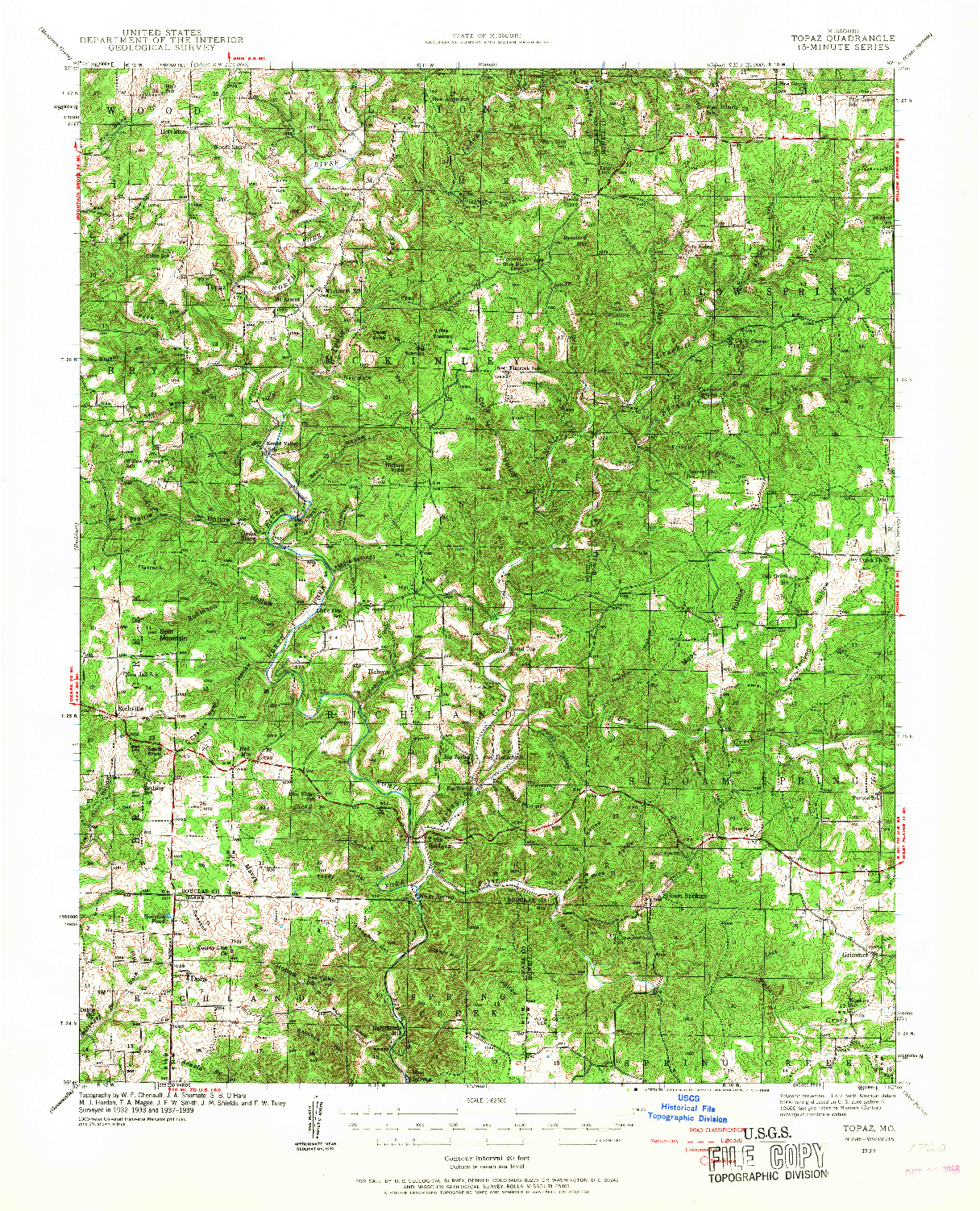 USGS 1:62500-SCALE QUADRANGLE FOR TOPAZ, MO 1939