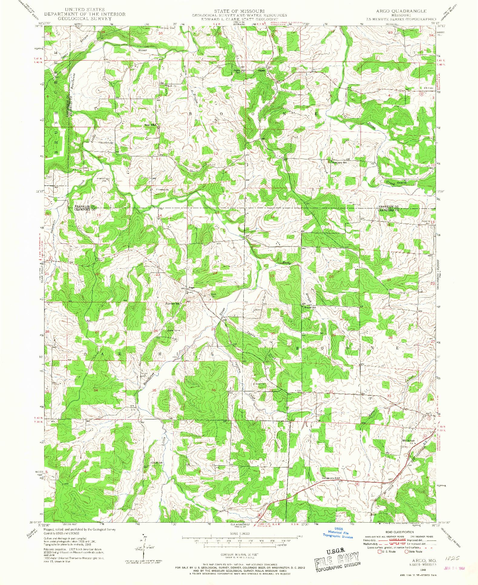 USGS 1:24000-SCALE QUADRANGLE FOR ARGO, MO 1948