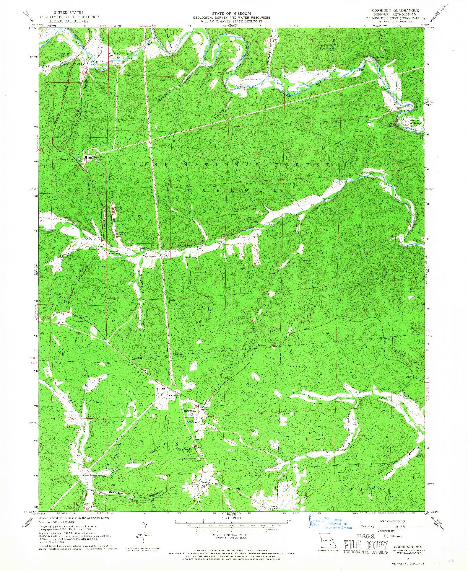 USGS 1:24000-SCALE QUADRANGLE FOR CORRIDON, MO 1967