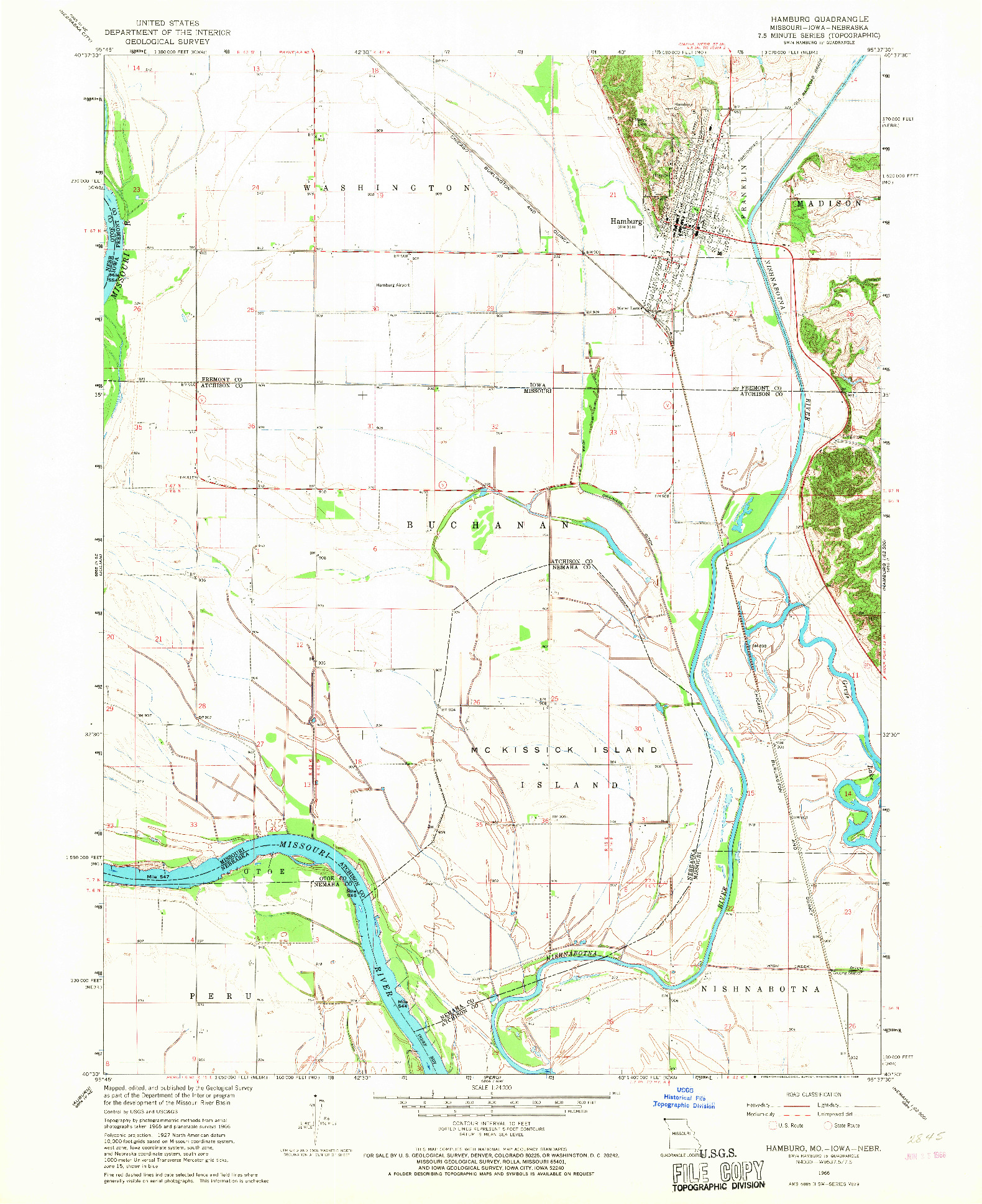 USGS 1:24000-SCALE QUADRANGLE FOR HAMBURG, MO 1966