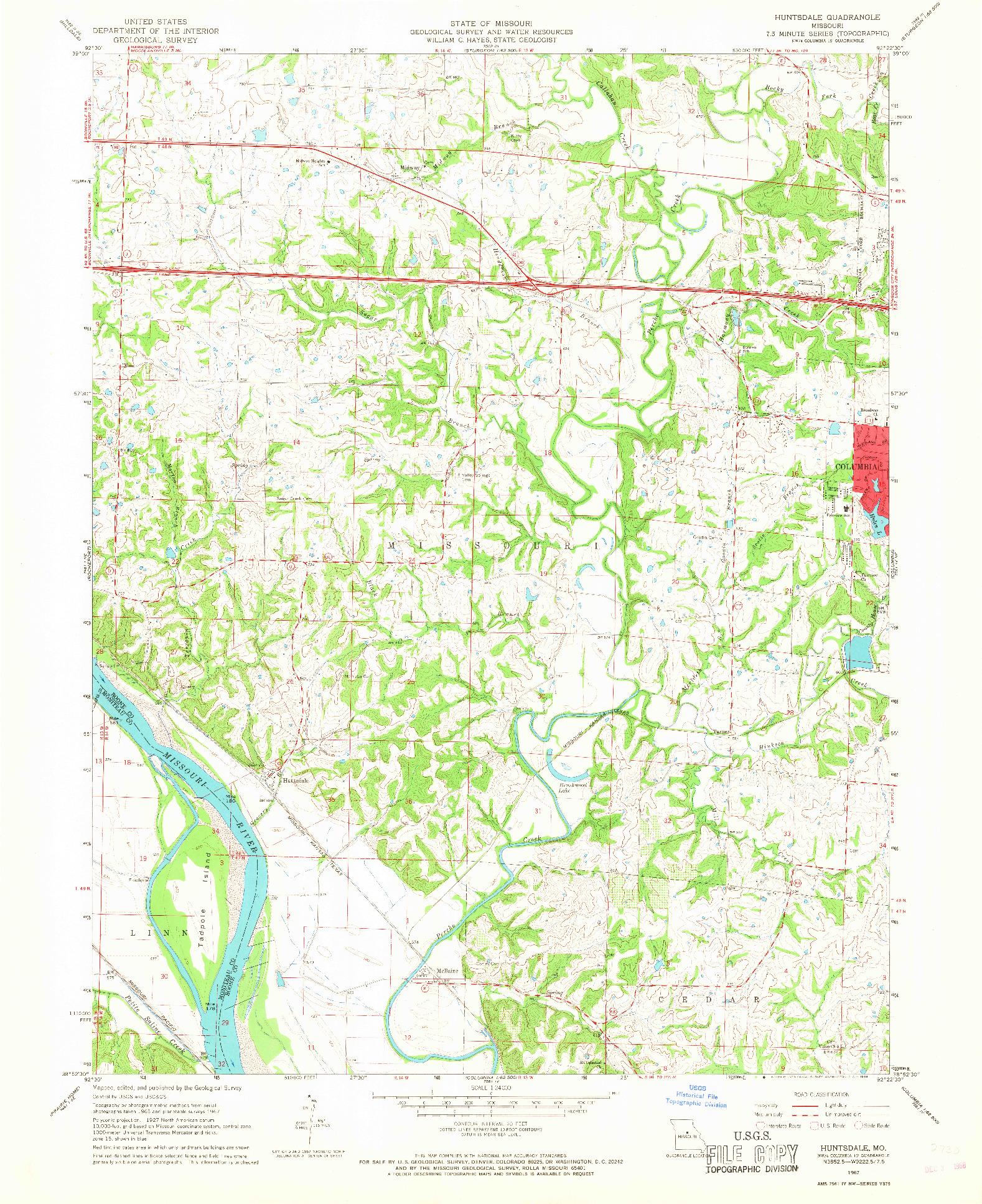 USGS 1:24000-SCALE QUADRANGLE FOR HUNTSDALE, MO 1967