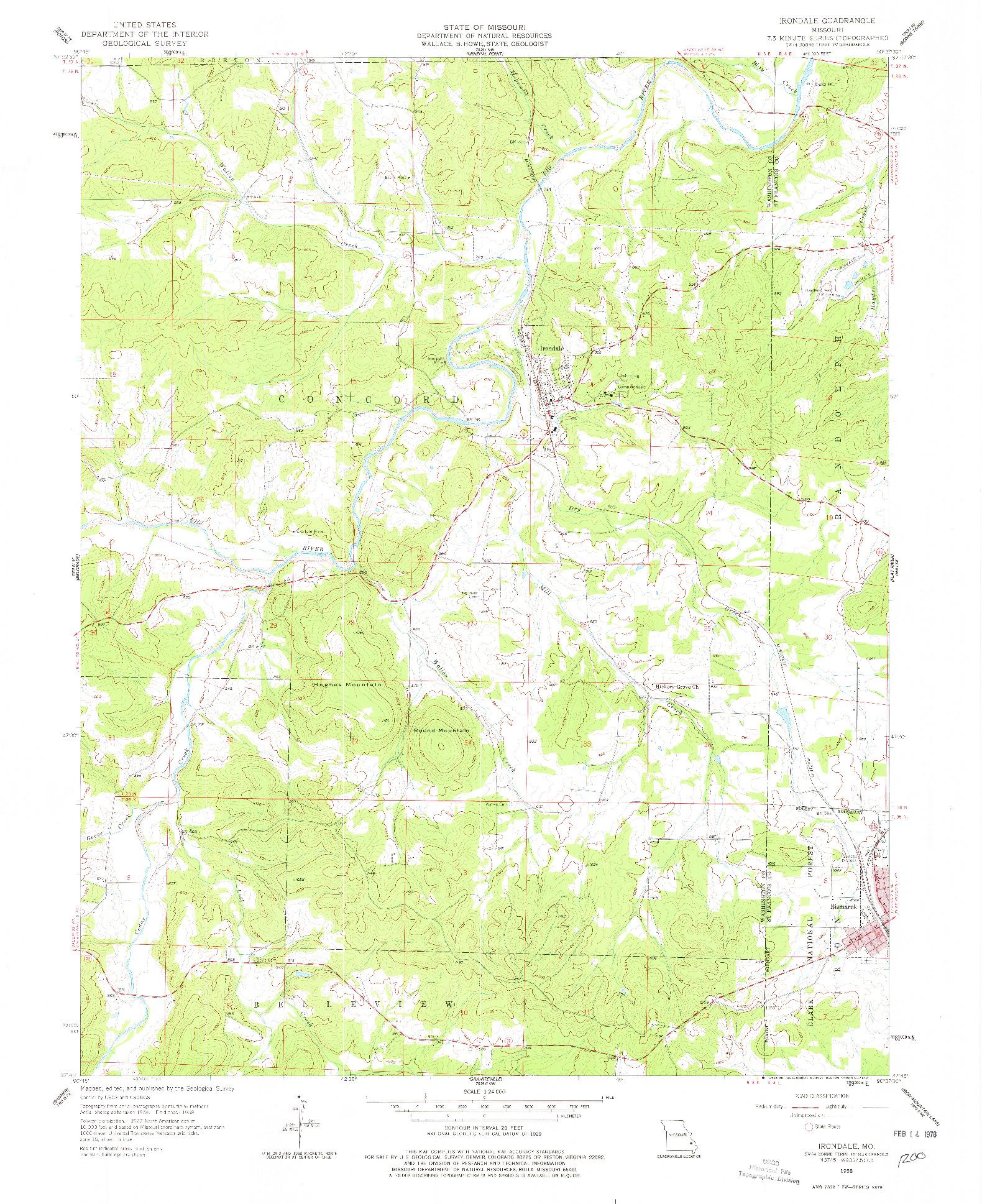 USGS 1:24000-SCALE QUADRANGLE FOR IRONDALE, MO 1958