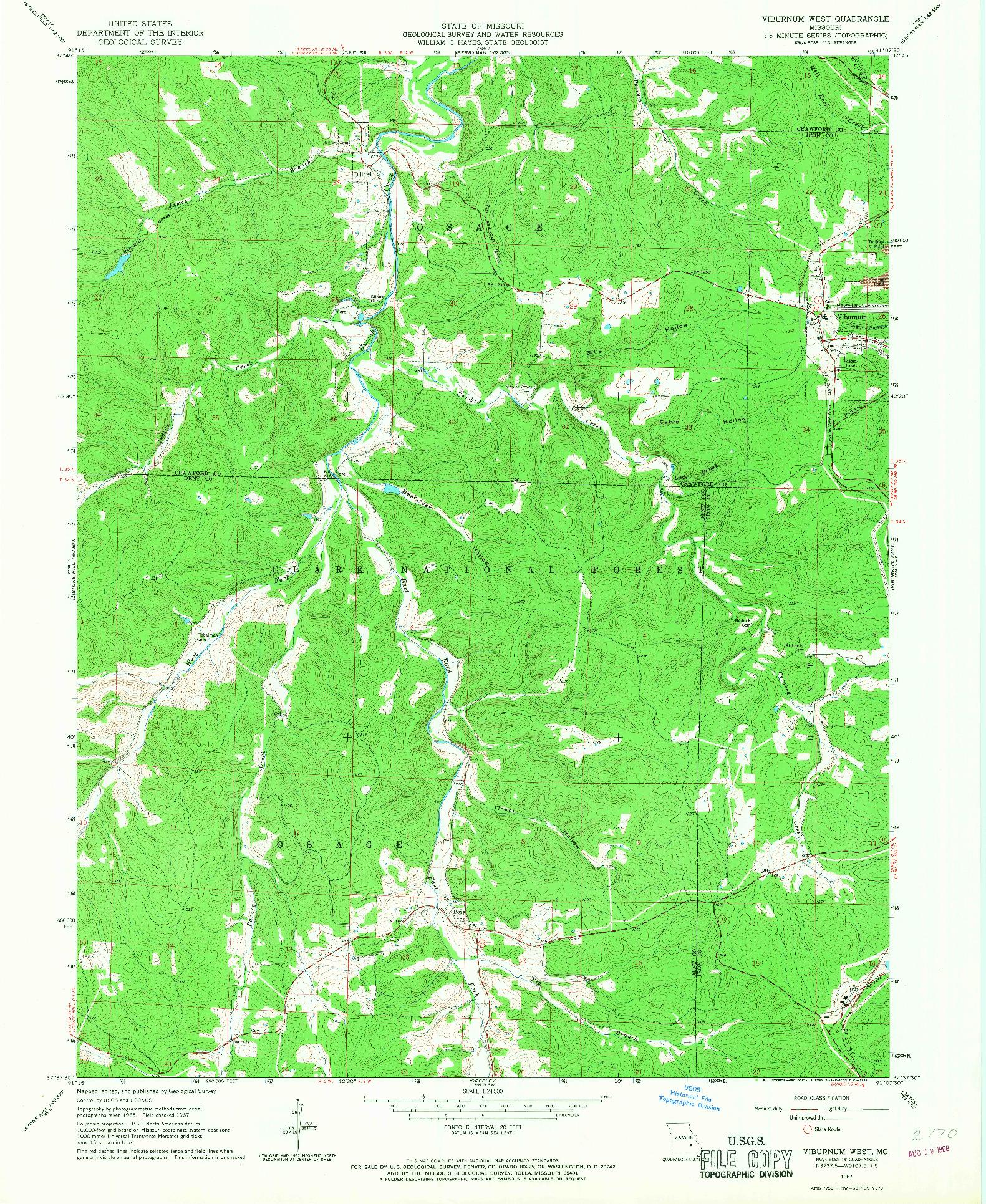 USGS 1:24000-SCALE QUADRANGLE FOR VIBURNUM WEST, MO 1967