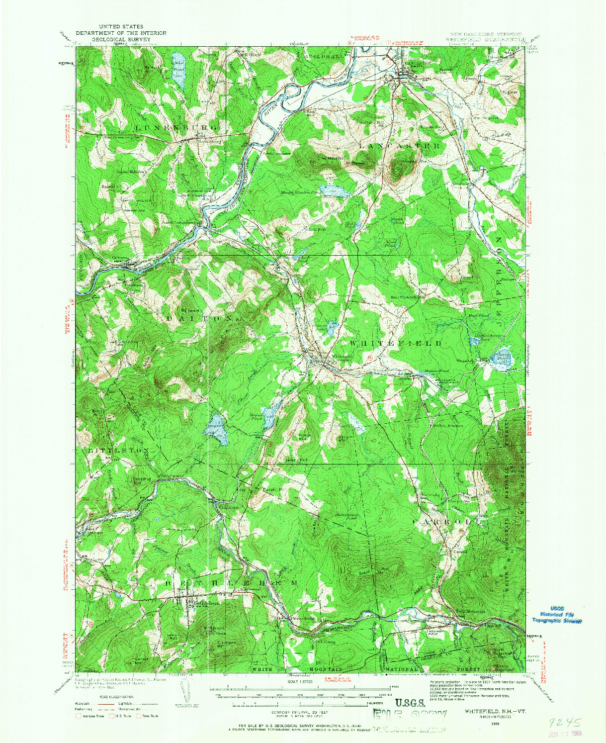 USGS 1:62500-SCALE QUADRANGLE FOR WHITEFIELD, NH 1935