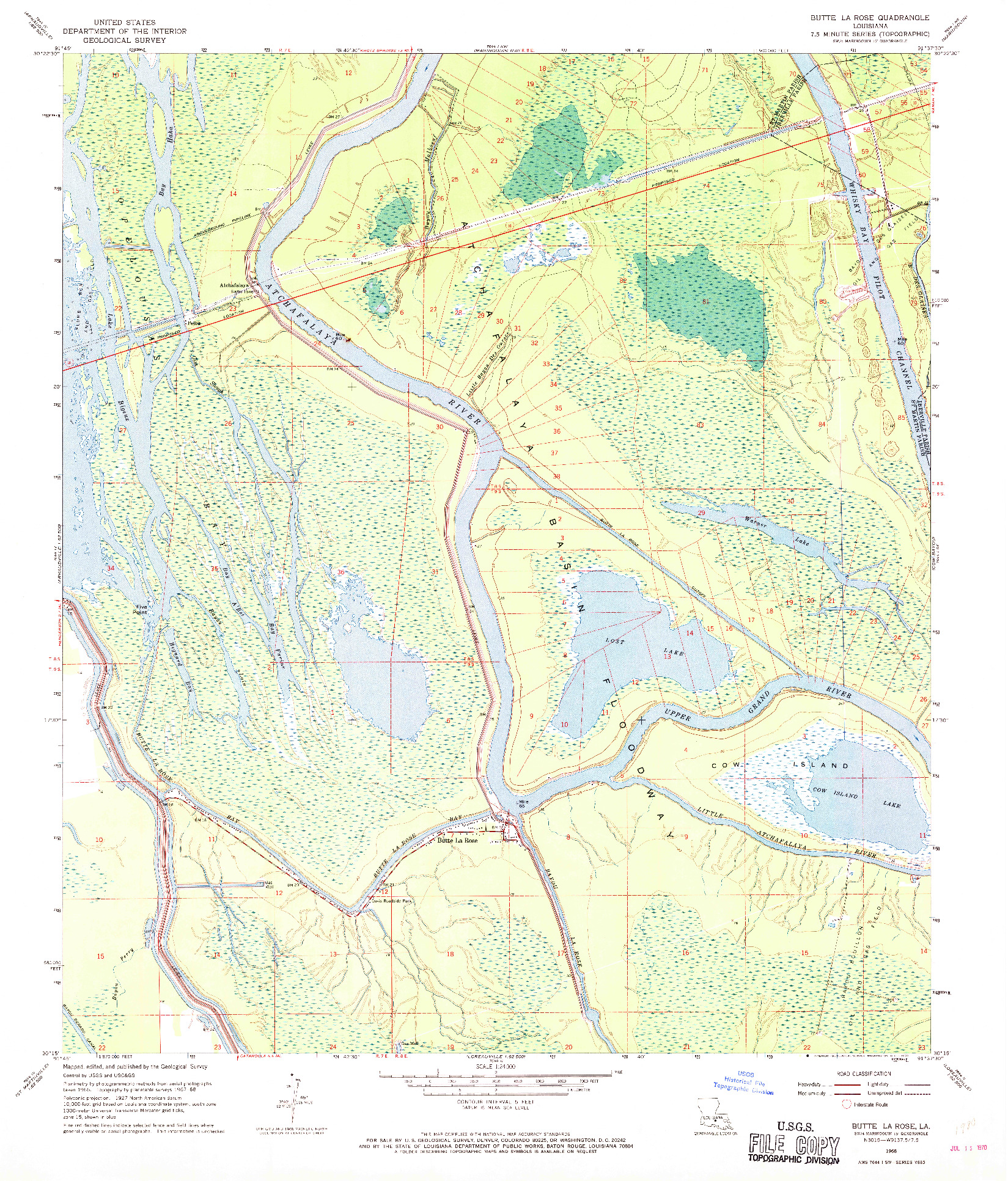 USGS 1:24000-SCALE QUADRANGLE FOR BUTTE LA ROSE, LA 1968