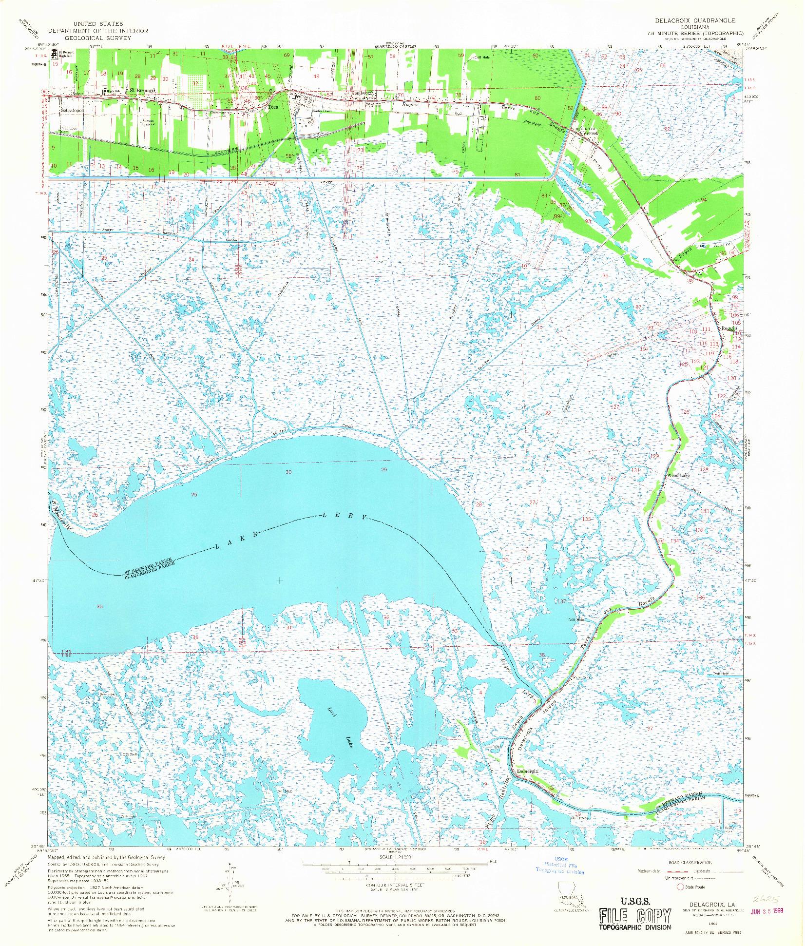 USGS 1:24000-SCALE QUADRANGLE FOR DELACROIX, LA 1967
